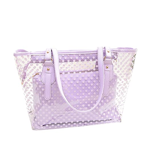 Amazon.com   Tinksky Clear Zippered Tote Bag Dots Patterned ... f1f5fb1869