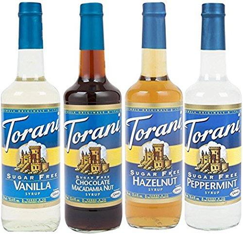 Torani Sugar Free Favorites One Each, Chocolate Macadamia Nut, Hazelnut, Vanilla and Peppermint 25.4 ounce each (4 pack)