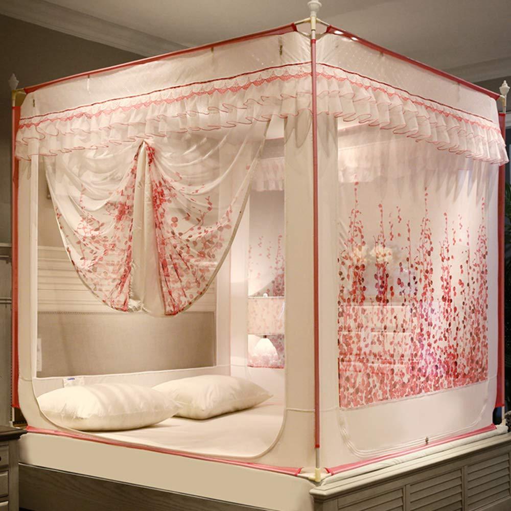 Princesa Rattan,Rojo mosquitero yurt para el hogar ZY Cremallera de Tres Puertas mosquitera para Viento Ropa de Cama para beb/és Resistente a roturas Parte Superior Cuadrada