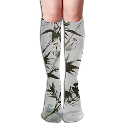 5e59890e04b85 Image Unavailable. Image not available for. Color: 19.68 Inch Compression Socks  Bamboo Gray Leaves ...