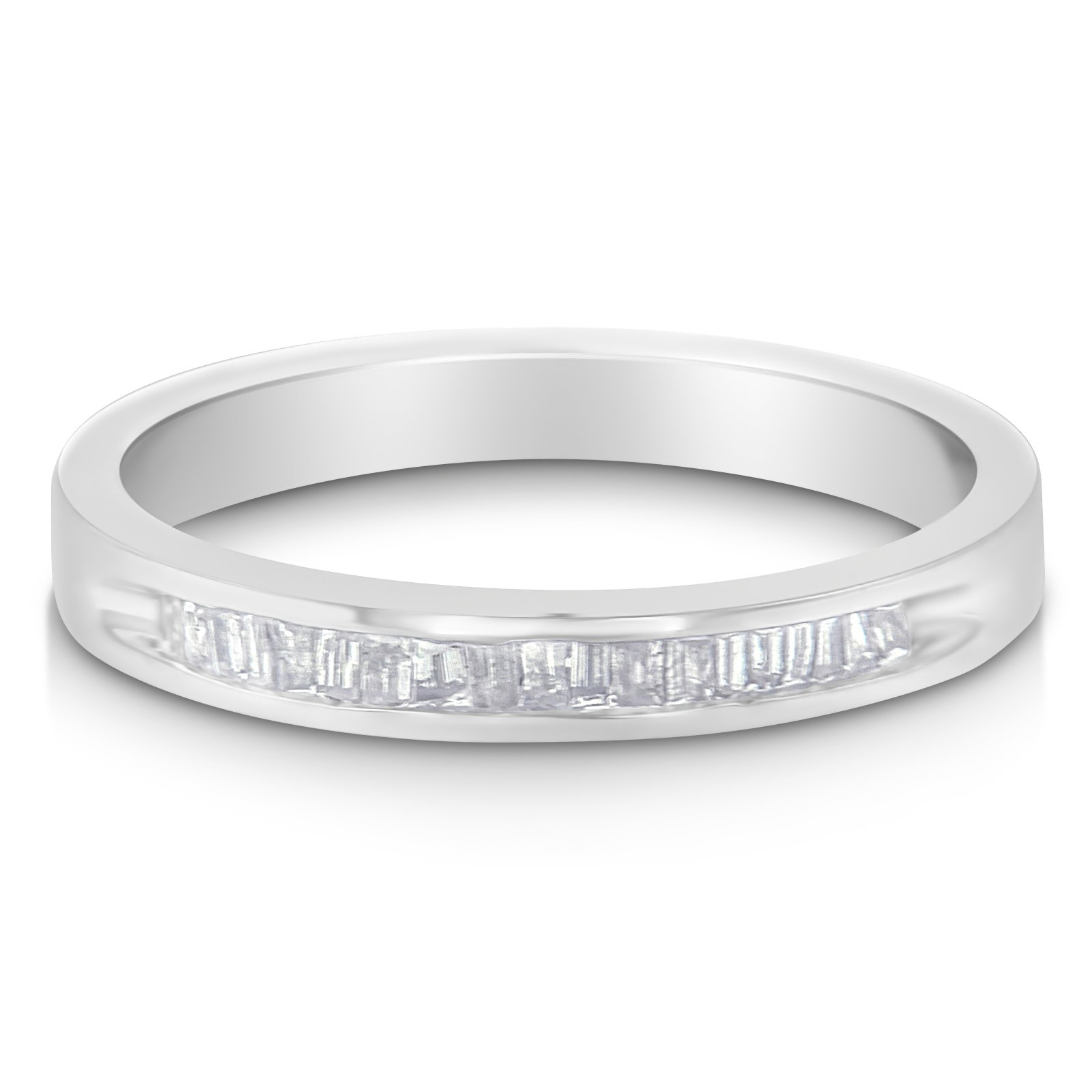 Sterling Silver Baguette-cut Diamond Band Ring - Size 7 (1/5 cttw, H-I Color, I1-I2 Clarity)