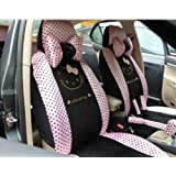 Cartoon Pink Auto Car Seat Cover Full Set Front Back Saddle Covers 18pcs