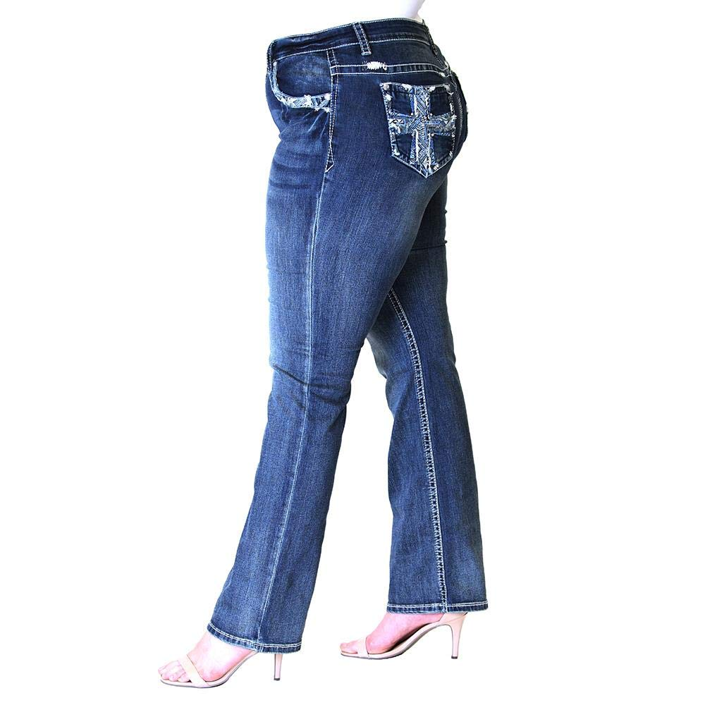 Womens Plus Size Cross Embellished Straight Leg Jeans PS-71016