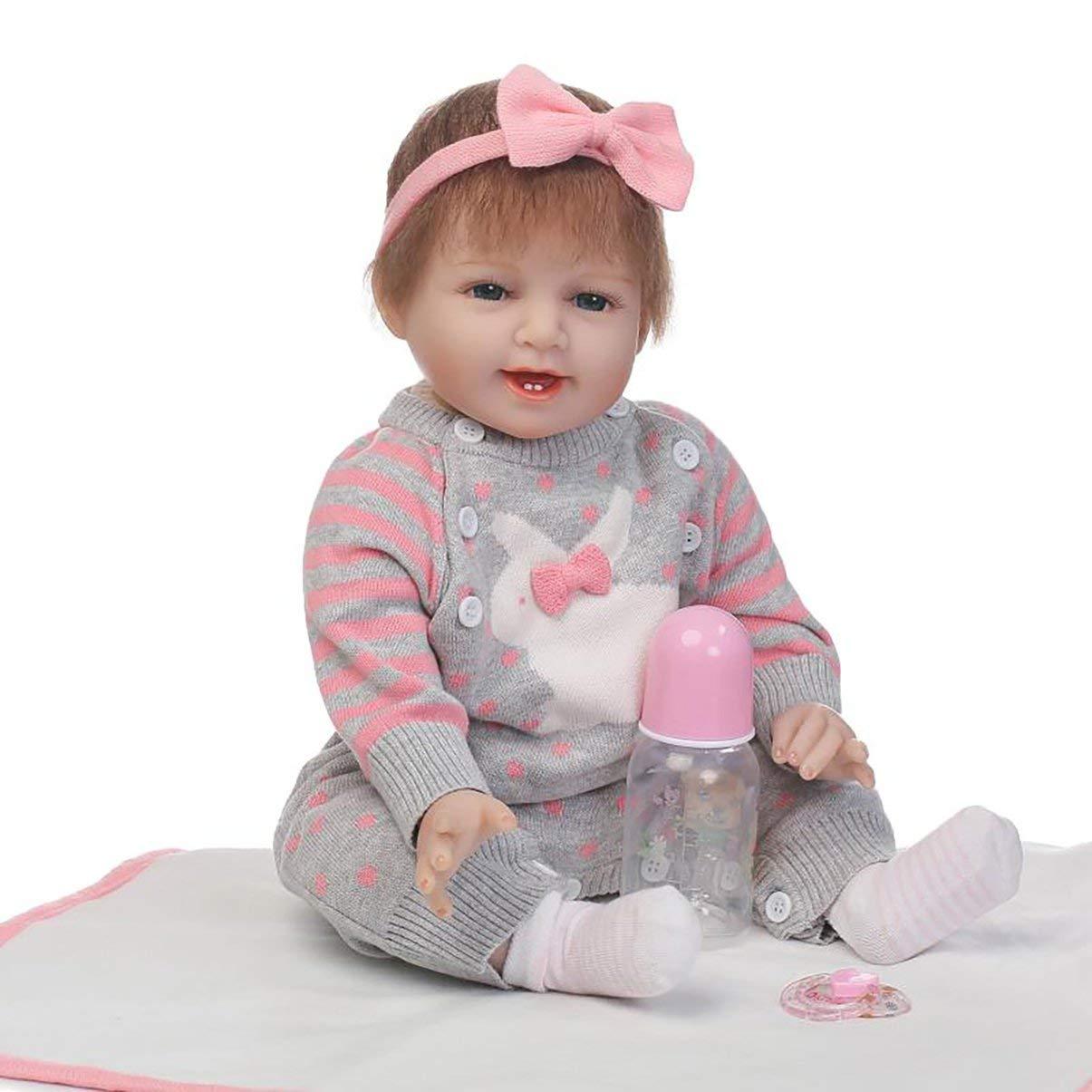 JullyeleDEgant 55 55 55 cm Kaninchen Pullover Voller Körper Weiche Silikon Vinyl Baby Puppe ungiftig Sicheres Spielzeug Handgemachte Schöne Lebensechte Newborn Baby Puppe Spielzeug f239a2
