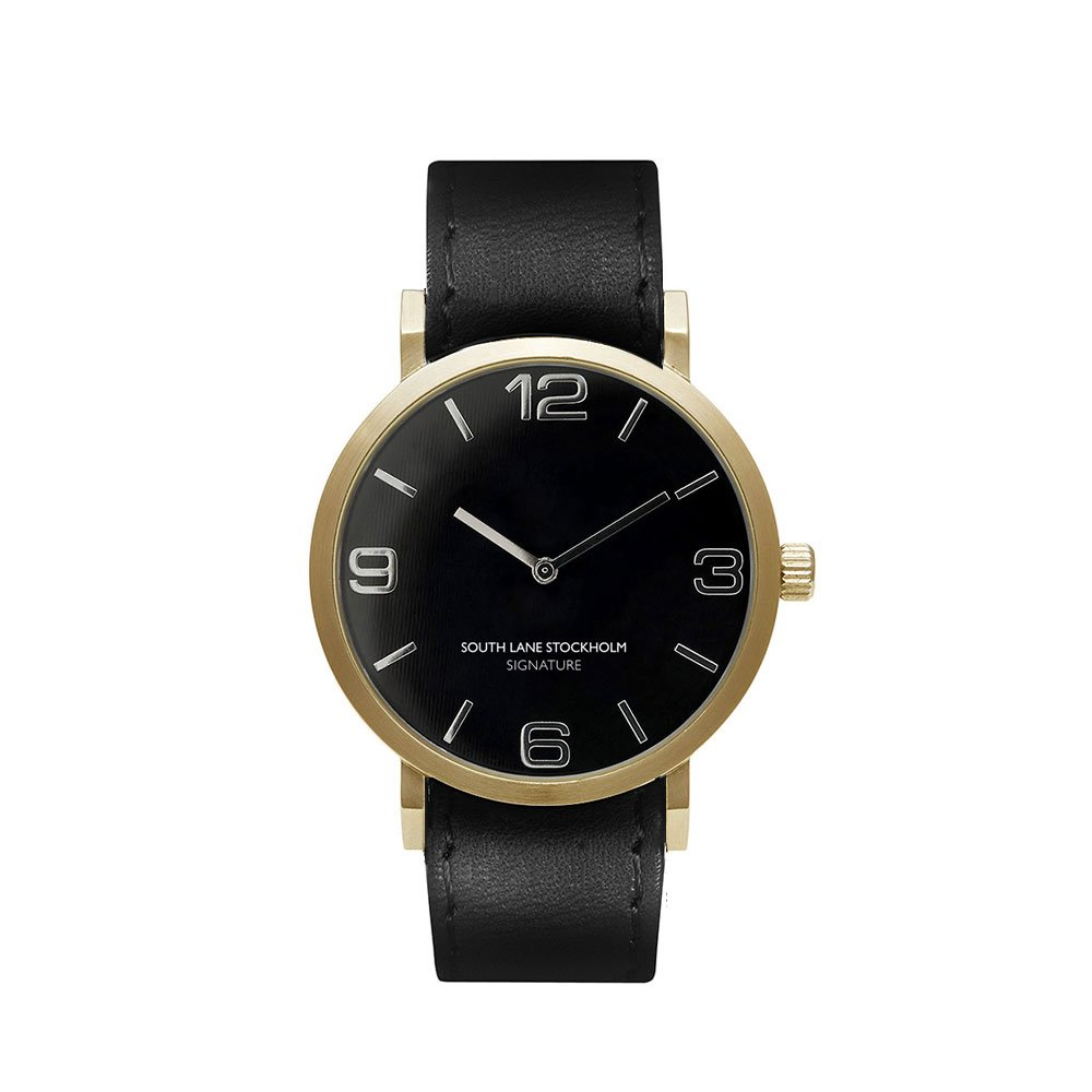 South Lane 'SIGNATURE GOLD' Quartz Stainless Steel and Leather Casual Watch, Color:Black (Model: 659436314597)