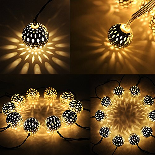 Twinkle Star 13.5 ft 40 LED Globe String Lights, Sliver Moroccan Party Hanging Lights Battery Operated Decor for Indoor, Home, Bedroom, Party, Wedding, Christmas Tree (Warm White)