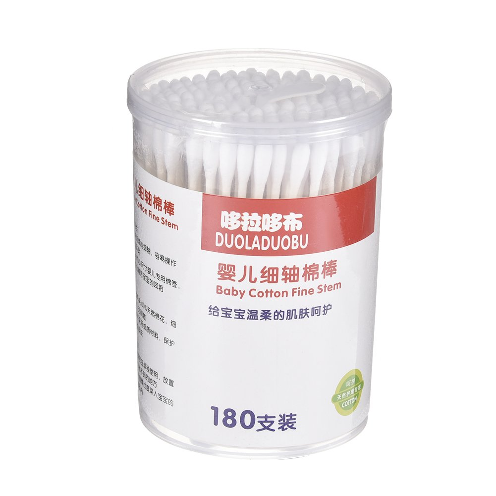Per Anti-bacterial Cotton Swab for Infant Baby cotton bud Double-head paper/plastic stick swab (180pcs)