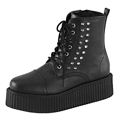 2df6c4bd3a5 Summitfashions Mens Gothic Boots Studded Booties Black Creepers Shoes  Spikes 2 Inch Platform Size  4