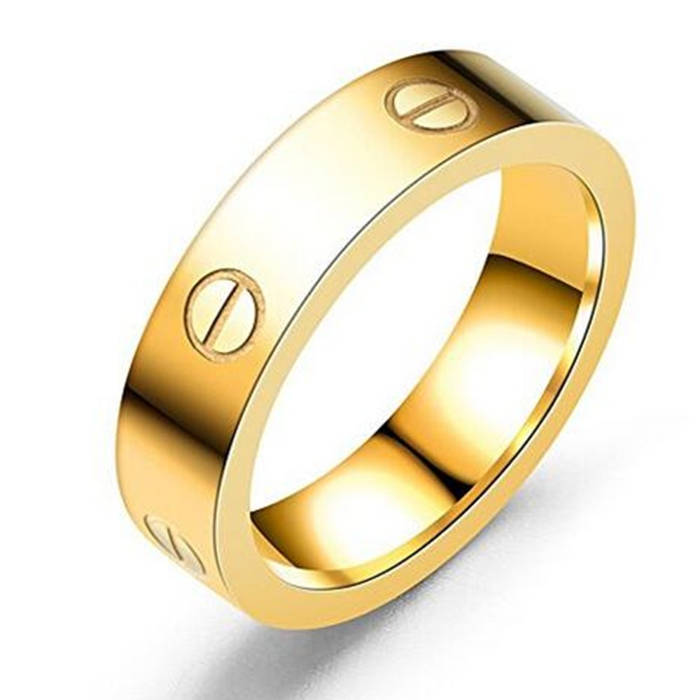Dubeauty 4mm Love Ring Lifetime Titanium Stainless Steel Couples Wedding Engagement Anniversary Engraved Bands Gold Size 7