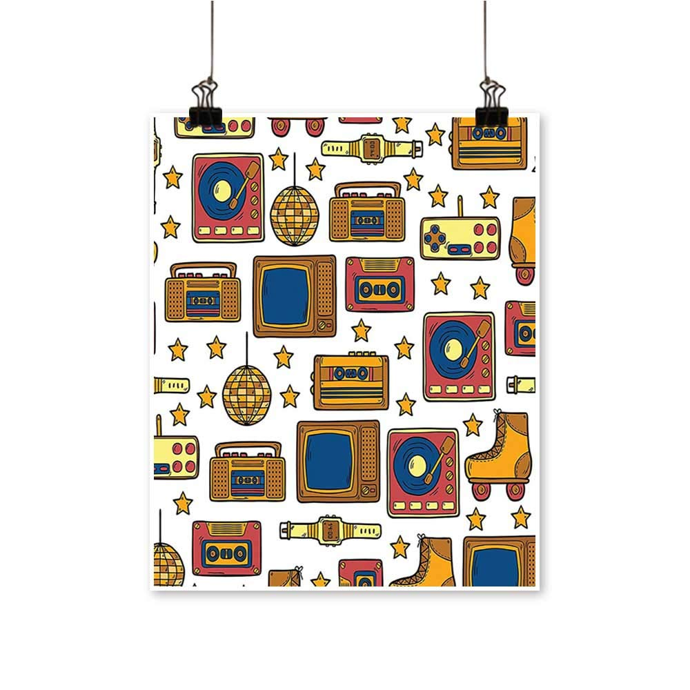Single painting90s Theme with Old Style Recorder Stereo Television Roller Skate Shoes Electronic Watch Office Decorations,28''W x 52''L/1pc(Frameless) by painting-home