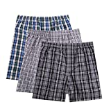 Pau1Hami1ton B-01X Men's Woven Boxer Shorts Cotton Trunks Button Plaid Briefs Checkered Underwear(Pack of 3)(A6#,L)