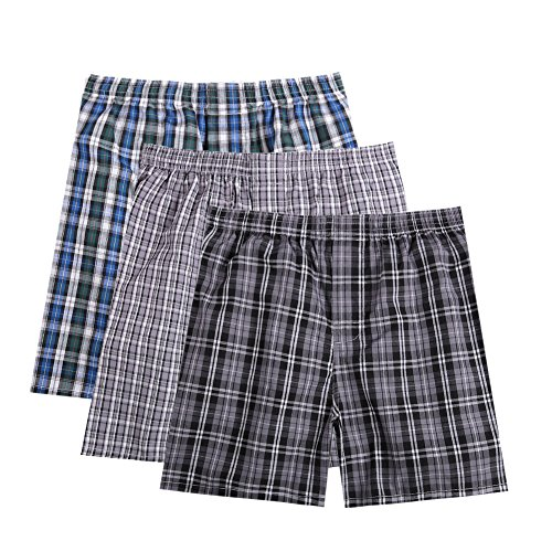 Pau1Hami1ton B-01X Men's Woven Boxer Shorts Cotton Trunks Button Plaid Briefs Checkered Underwear(Pack of 3)(A6#,L) by Pau1Hami1ton