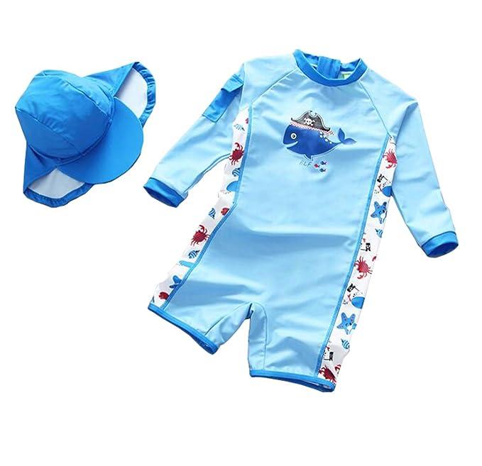 62e4a6c06e TAIYCYXGAN Baby Toddler Boys One Piece Surfing Suit Zip Up Swimsuit Rash  Guard Bathing Suit Sunsuit