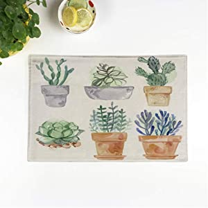rouihot Set of 4 Placemats Purple Succulent Flowers in Pot Watercolor Blue Cactus Painted Non-Slip Doily Place Mat for Dining Kitchen Table