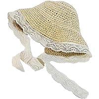 1pc Niños Sombreros De Paja con Flores Decoración De Protección Solar Cap Niños Atan para Uso Al Aire Libre