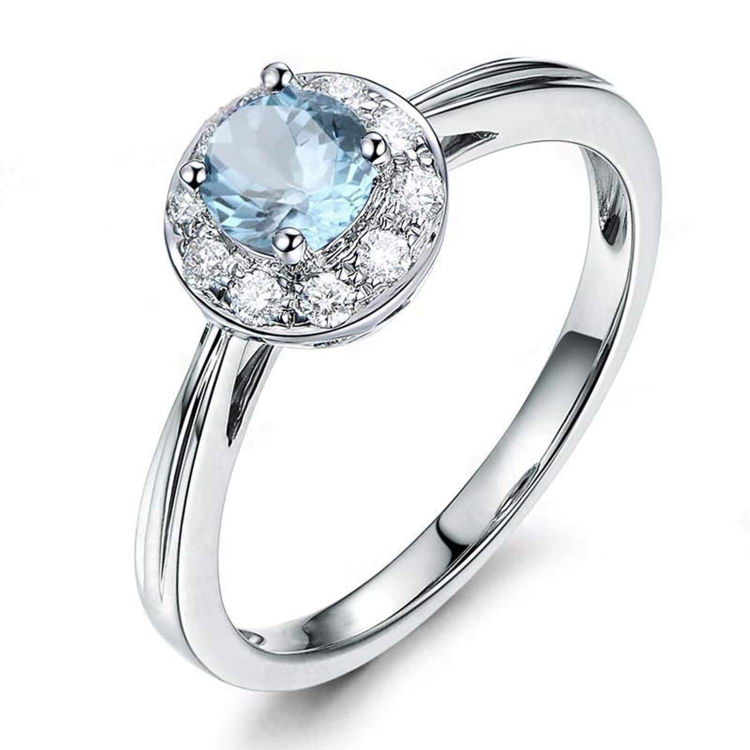 AMDXD Jewellery 925 Sterling Silver Anniversary Ring for Women Round Cut Topaz Round Rings