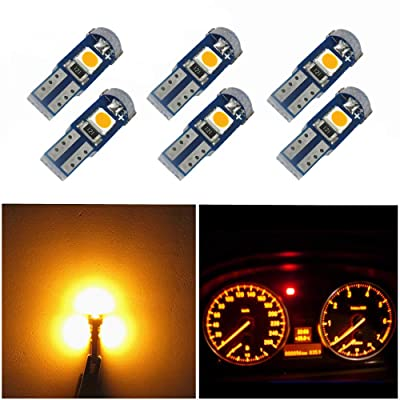 WLJH 6 Pack T5 LED Bulb Yellow 74 73 17 2721 Canbus Error Free 3-SMD 3030 LED Gauge Cluster Dashboard Indicator Light Bulbs,Plug and Play: Automotive