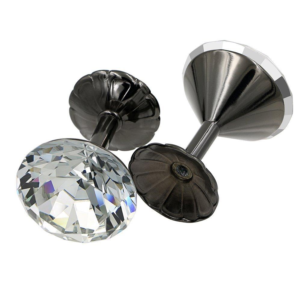 60 mm  silber Btsky Paar extra gro/ße Raffhalter aus Glaskristall mit Chromsockel