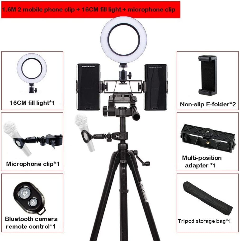Microphone Clip Bluetooth Remote Control Optional JYEMDV LED Ring Light with Tripod USB Power Supply Phone Holder Fill Light Color : F