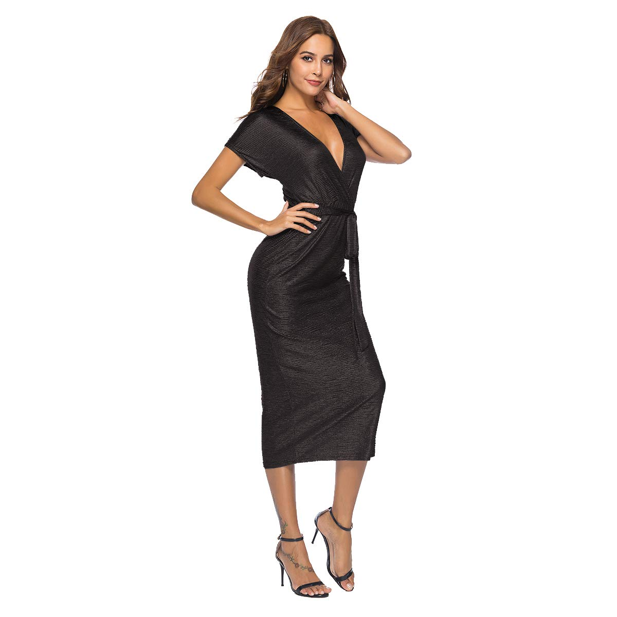 022472eed6 Zumine Glitter Deep V Neck Dress for Women Short Sleeve Tie Front Sexy  Party Dress at Amazon Women s Clothing store
