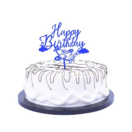 Amazon Com Yuinyo Blue Happy Birthday Cake Toppers Blue Cartoon