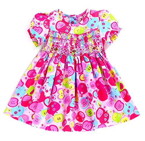 sissymini Infant & Toddler Puffed Sleeve Spring/Summer Apple Pie Pink Hand Smocked Dress - (12M, 18M, 24M, 2T, 3T, 4T) (Pink Apple Pie, 3T) (Smocked Apple)
