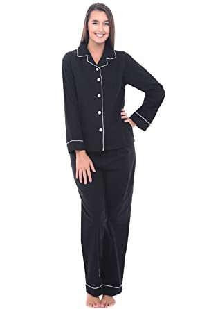 668527609e Alexander Del Rossa Womens Flannel Pajamas, Long Cotton Pj Set, Small Black  with White