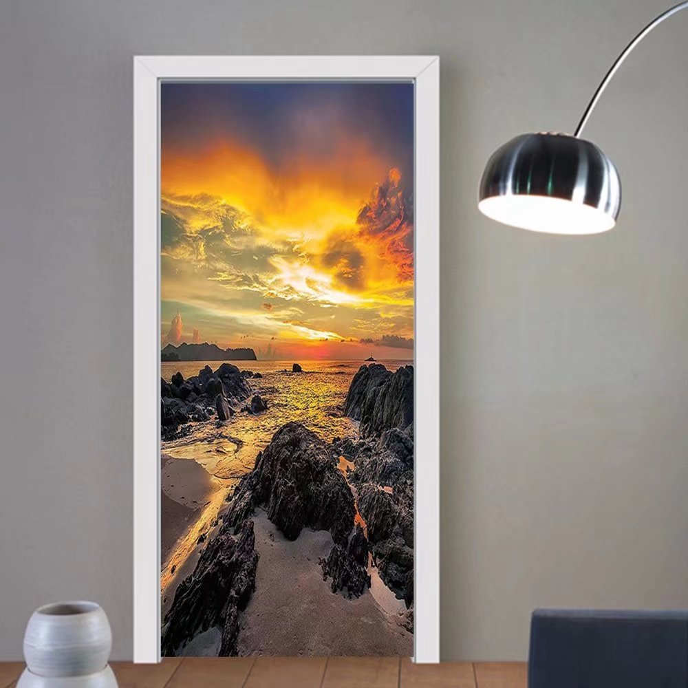 Gzhihine custom made 3d door stickers Seaside Decor Sunset Scenery in Sandy Beach with Rocks and Waves Lonely Peace Morning Dream on Earth Decor Blue Yellow For Room Decor 30x79