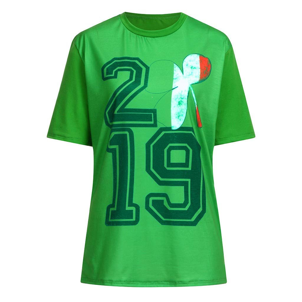 AMSKY T-Shirts for Boys,Men Women Couple St Patricks Day Print Short Sleeve Green T Shirt Top Blouse,Exercise /& Fitness DVDs,Green,L