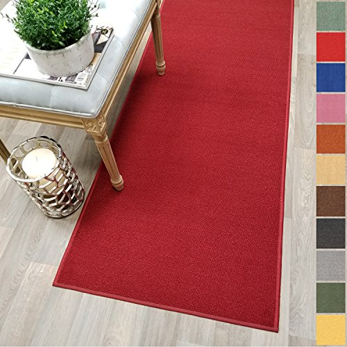 Custom Size RED Solid Plain Rubber Backed Non-Slip Hallway Stair Runner Rug Carpet 22 inch Wide Choose Your Length 22in X - Dark Carpet Red