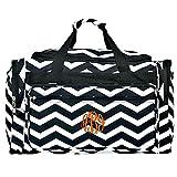 "Personalized Black Chevron Large Overnight Duffle Bag 22"""