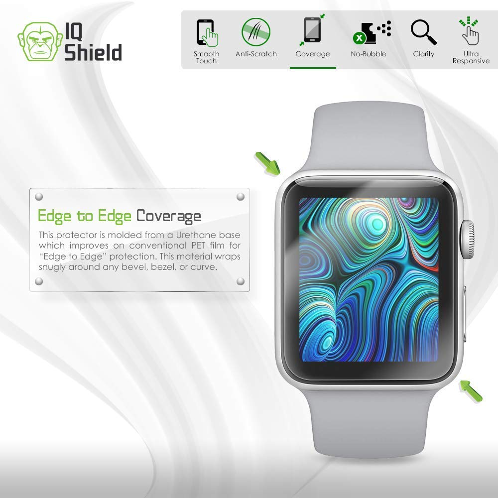 Apple Watch Screen Protector (38mm)(Apple Watch Nike+, Series 3/2/1 Compatible)[Ultimate](6-Pack), IQ Shield LiQuidSkin Full Coverage Screen Protector [HD Clear Anti-Bubble Film] by IQShield (Image #6)
