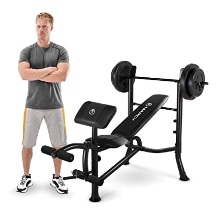 480704b2cdf Marcy Standard Workout Bench with 80 lb. Weight Set   Leg Developer  Multifunctional Workout Station