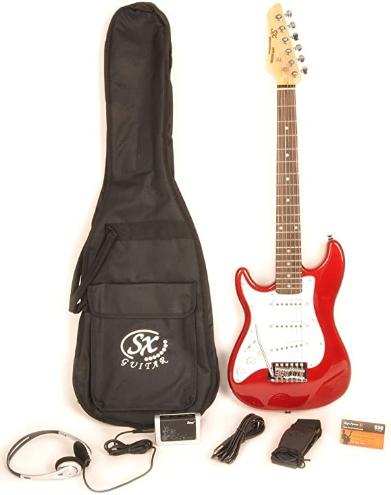 Left Handed Electric Guitar 1/2 Size (34 Inch) Red w/Pocket Amp