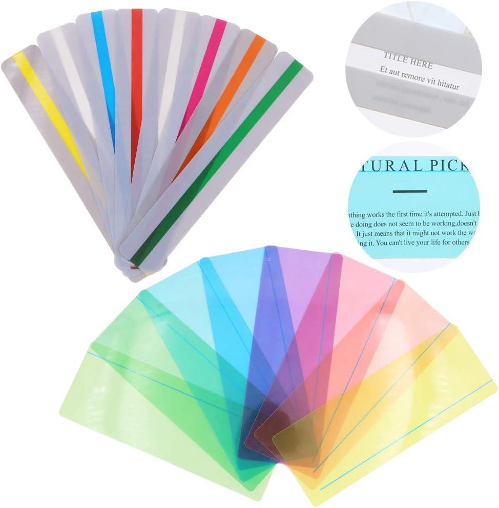 Paquete de 16 tiras guiadas de lectura para resaltar, superposiciones de colores, regla de seguimiento de lectura para niños, personas dislexias(8 tamaños estándar y 8 tamaños grandes)