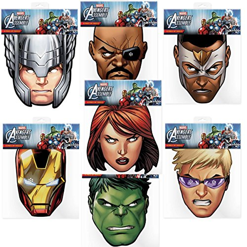 Iron Man Costume Child Uk (Official Marvel Avengers Assemble 7 Card Face Masks (Multipack))