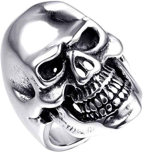 Stainless Steel Mens Cool Skull Head Solid Ring Punk New