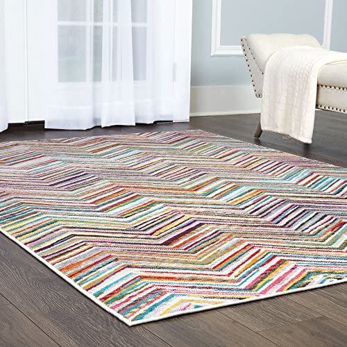 Home Dynamix Modern Area Rug, 7 10 x 10 2 , Yellow Pink Blue