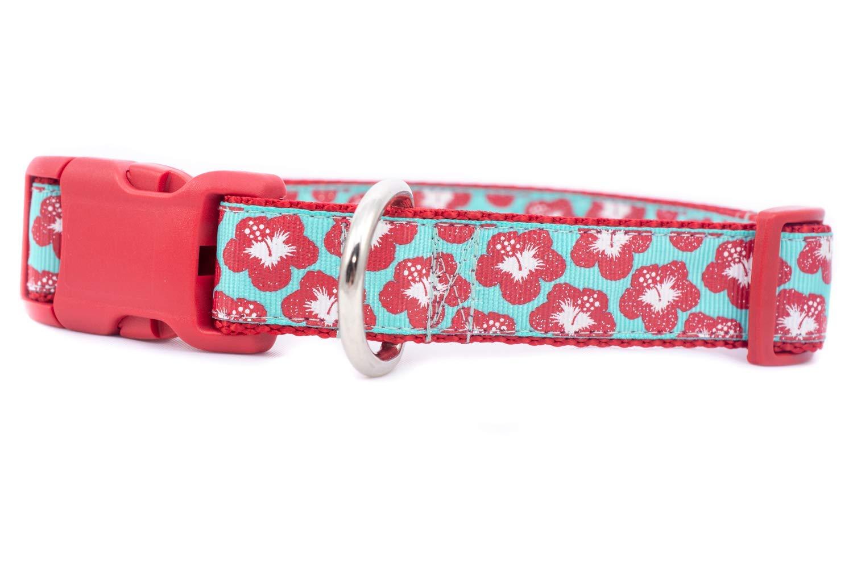 Hibiscus Floral Dog Collar 1 inch or 1.5 inch wide Hawaiian
