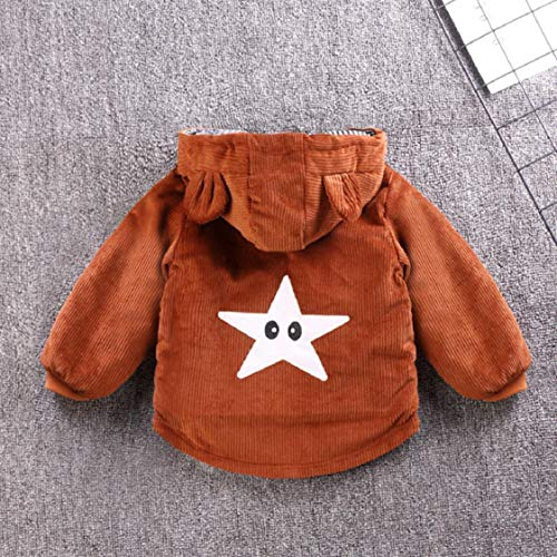 Kids Boys Girls Corduroy Hooded Coats Bear Ear Vintage Winter Jackets Long Sleeve Faux Fur Coats Cartoon Zipper Gifts