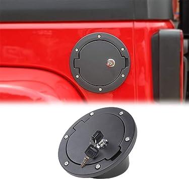 Modifying Aluminum Gas Tank Cap Cover Fuel Filler Cover Door 4-Door 2-Door for Jeep Wrangler JK /& Unlimited 2007-2017 Sport Rubicon Sahara with Jeep Logo Sticker