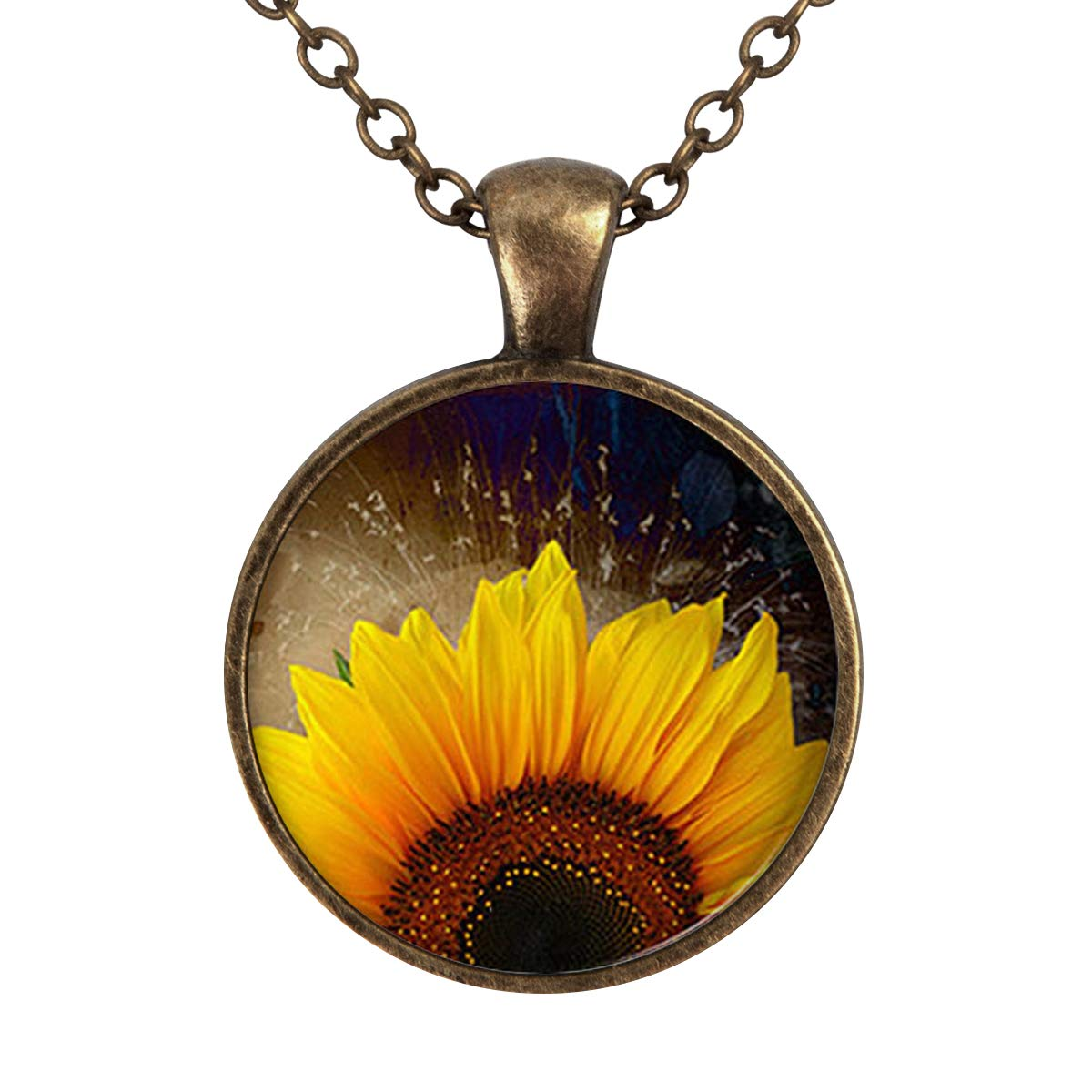 Lightrain Sunflower Pendant Necklace Vintage Bronze Chain Statement Necklace Handmade Jewelry Gifts