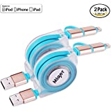 Miger Apple Certified 2Pack Retractable Charge and Sync 2-in-1 Cable with Lightning & Micro USB Connectors for iPhone, iPad, iPod Touch /5 Nano 7 on iOS9, Samsung /HTC & More - 3.3 Feet(1 Meters)
