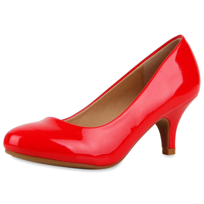 napoli-fashion Klassische Damen Pumps Strass Glitzer Party Schuhe Stiletto Mid Heels Metallic Hochzeit Abendschuhe Abiball Jennika Rot