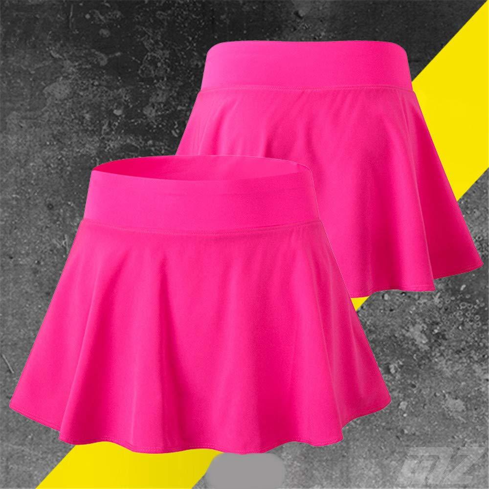 Hoverwin - Falda de Tenis para Mujer, Minifalda, Secado rápido, para Deporte, Fitness, Yoga, Pliegues, con pantalón Interior, Color Rosa, tamaño Large