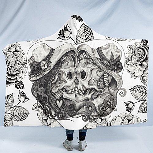 Sleepwish Sugar Skull Hooded Blanket Kissing Skeletons with a Heart Design Vintage Couple Skull Sherpa Fleece Blanket (Adults 60