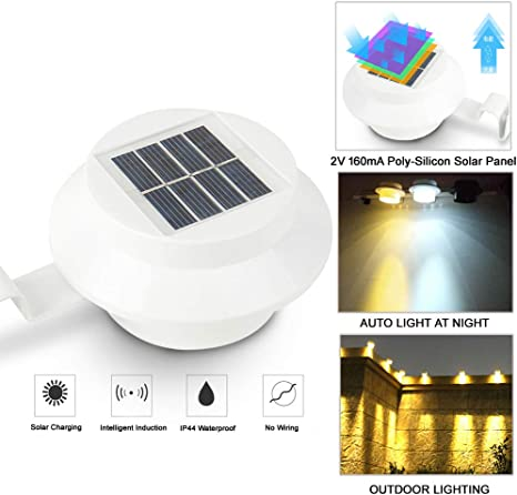 1pack Outdoor Solar Gutter Led Lights Auto On Off Garden Yard Fence Wall Lamp Waterproof Energy Saving White Shell Warm White Light Amazon Com