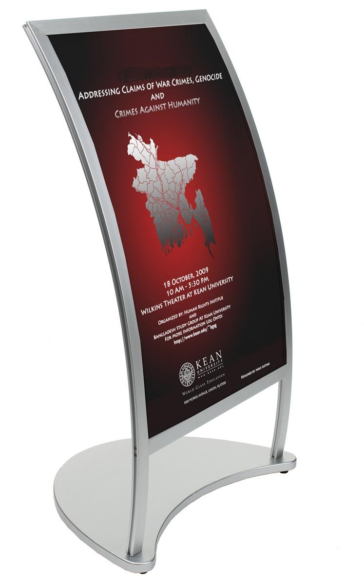 Displays2go Matte Silver Finish Aluminum Curved Poster Stand, Single-Sided 24 x 36-Inches Graphic, Free-Standing, Top-Loading (CMPFLR36SV)