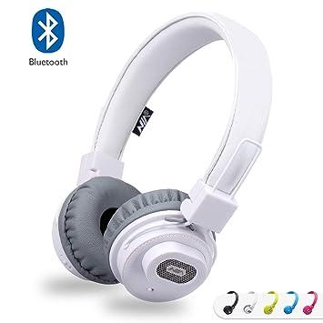 ... altavoz Bluetooth, auriculares estéreo recargables plegables en la oreja con micrófono incorporado para llamadas, compatible con tarjetas TF y radio FM ...