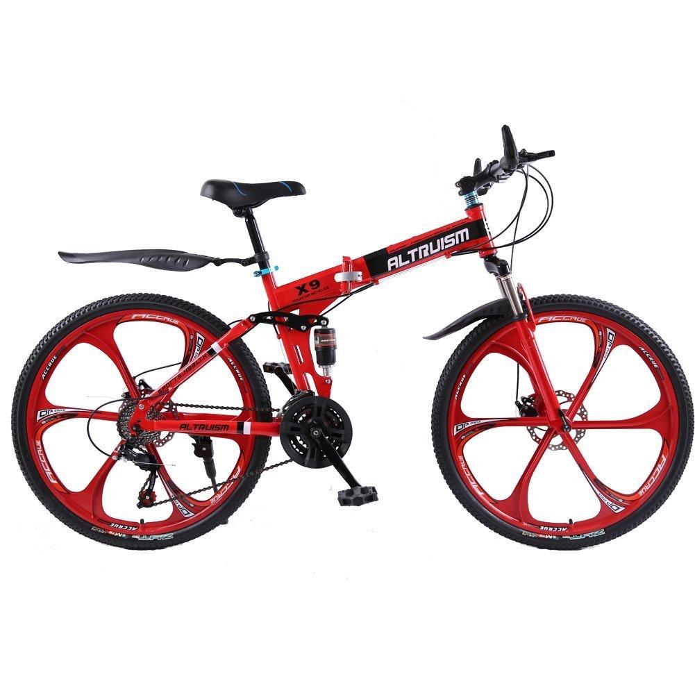 Altruism X9 マウンテンバイク 折り畳み式 26インチ タイヤ シマノ21段変速 ロードバイク 泥除け 軽量 アルミニウム合金 B01JNWMUPS 赤 赤